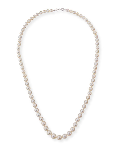 "13mm South Sea Pearl Necklace in 18K White Gold, 36""L"