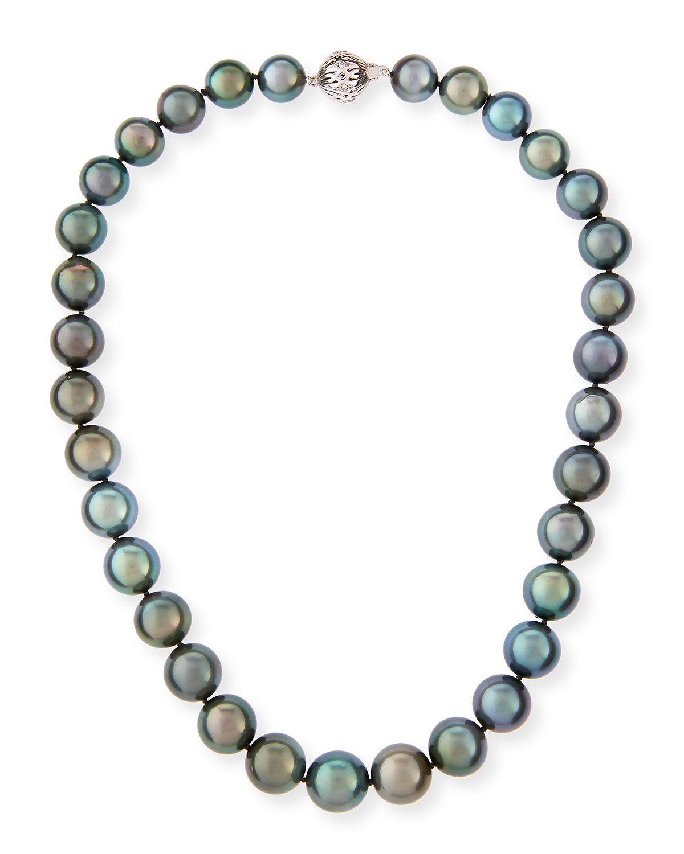 34a6bab0f Belpearl Tahitian Black Pearl Necklace, 18