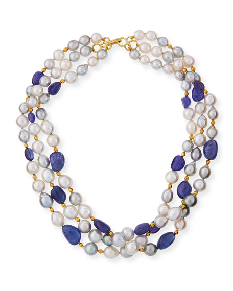 Three-Row Tahitian & South Sea Pearl Necklace with Tanzanite