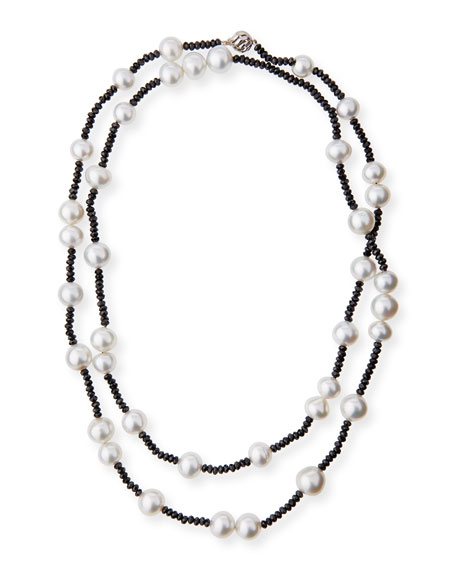 Long South Sea Pearl & Black Spinel Necklace, 40""
