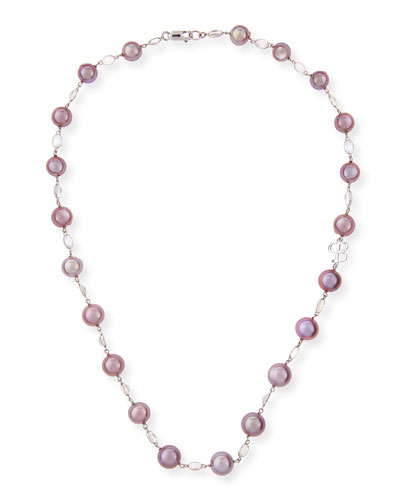 Kasumiga Pink Pearl & Moonstone Necklace in 18K White Gold, 20