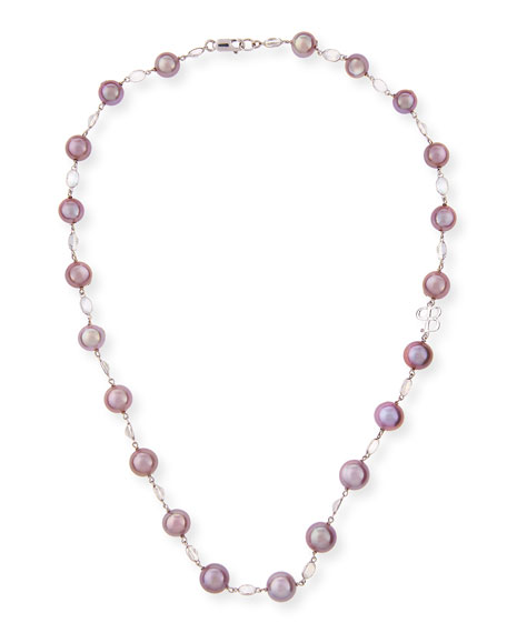 """Kasumiga Pink Pearl & Moonstone Necklace in 18K White Gold, 20"""""""