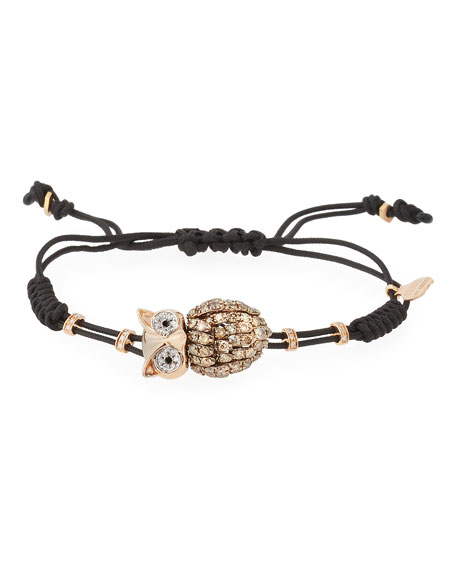 Pippo Perez Pull-Cord Bracelet with Brown Diamond Owl