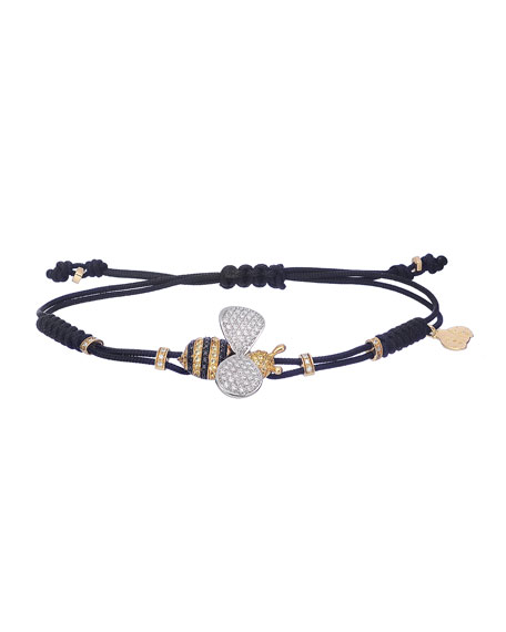 Pull-Cord Bracelet with Diamond & Sapphire Bumblebee in 18K Gold