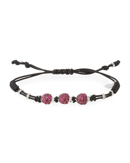 Pull-Cord Bracelet with Ruby & Diamond Ladybugs in 18K White Gold
