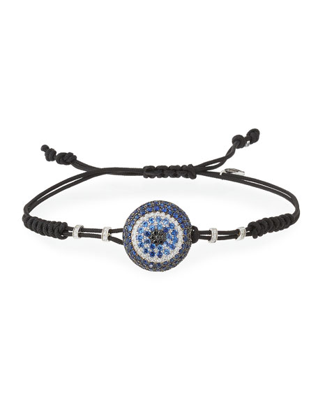 Pull-Cord Bracelet with Blue Sapphire & Diamond Fatima Eye