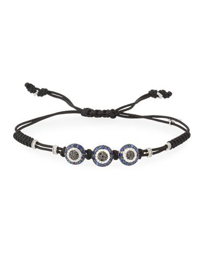 Pull-Cord Bracelet with Black & White Diamond Fatima Eye Stations