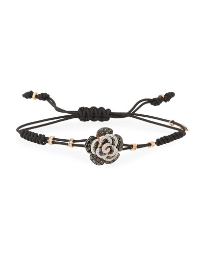 Pull-Cord Bracelet with Black & White Diamond Rose in 18K Yellow Gold