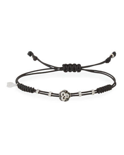 Pull-Cord Bracelet with Black & White Diamond Rose in 18K White Gold