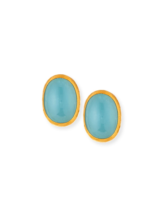 Aquamarine Cabochon Button Earrings