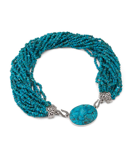 Stephen Dweck Carved Turquoise Multi-Strand Necklace