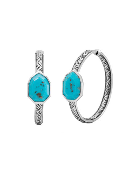 Medium Turquoise Pear Hoop Earrings