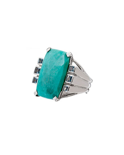 Faceted Turquoise & Blue Topaz Cushion Ring