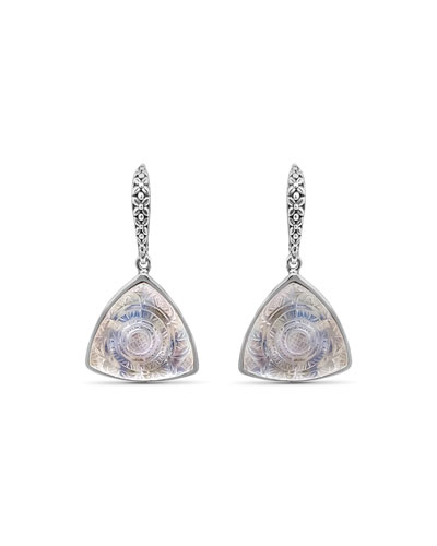 Carved Crystal Quartz Triangle Drop Earrings