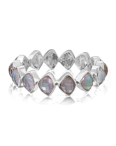 Freeform Faceted Crystal Quartz Triplet Bracelet
