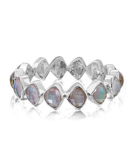 Stephen Dweck Freeform Faceted Crystal Quartz Triplet Bracelet
