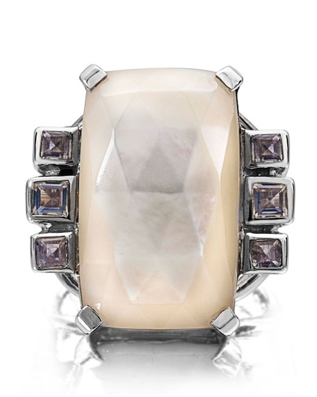 Cushion Crystal Cocktail Ring, White/Purple