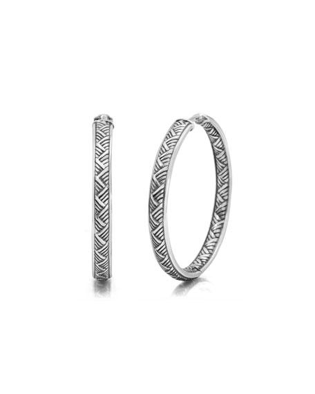 32mm Basketweave Hoop Earrings