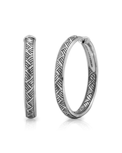 Engraved Silver Basketweave Hoop Earrings