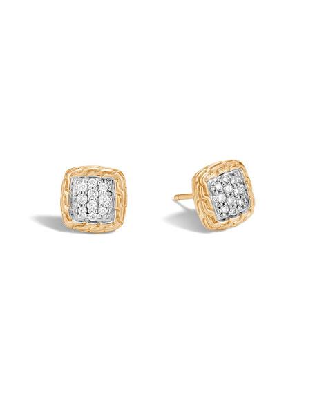 John Hardy Classic Chain 18K Gold Pave Diamond Stud Earrings