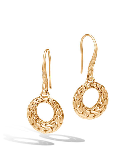 Classic Chain Small Open Circle Drop Earrings in 18K Gold