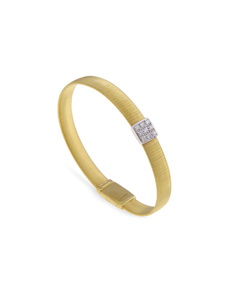 18K Gold Single-Strand Bracelet with Diamond Square