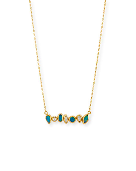 Amulet Hue Diamond & Opal Bar Pendant Necklace