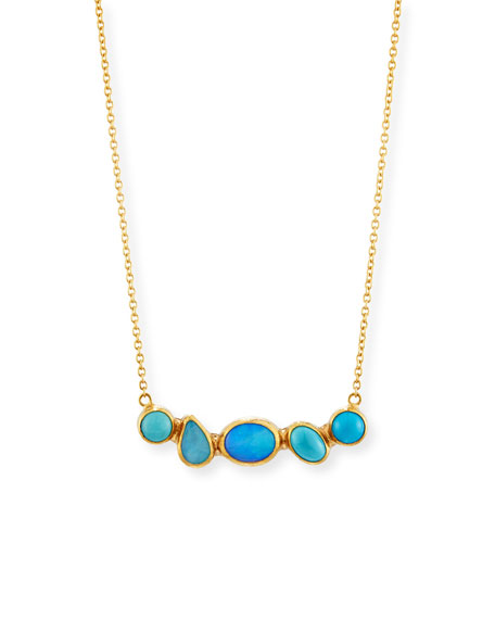 Amulet Hue Mixed-Cut Opal & Turquoise Bar Necklace