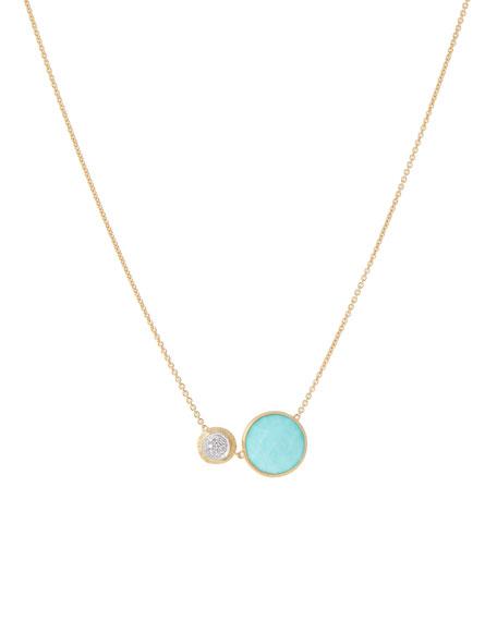 Marco Bicego 18k Jaipur Two-Stone Necklace, Turquoise/Diamonds