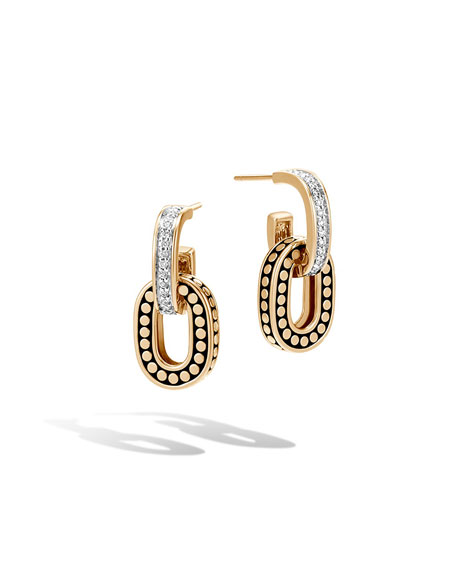 John Hardy Dot 18k Small Link Double-Drop Earrings