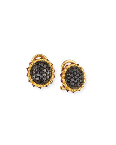 Sally Sohn Black Diamond & Ruby Stud Earrings in 18K Yellow Gold