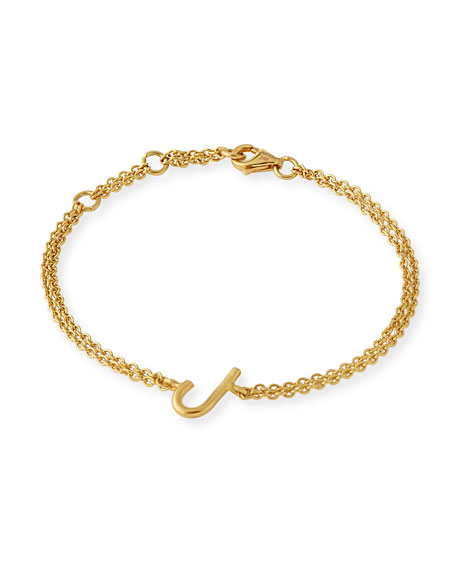 Yossi harari mini j letter bracelet in 18k gold for Letter j bracelet
