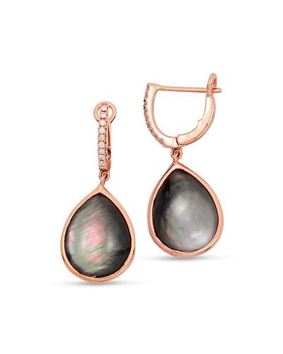 Luna 18k Rose Gold Black Mother-of-Pearl Earrings