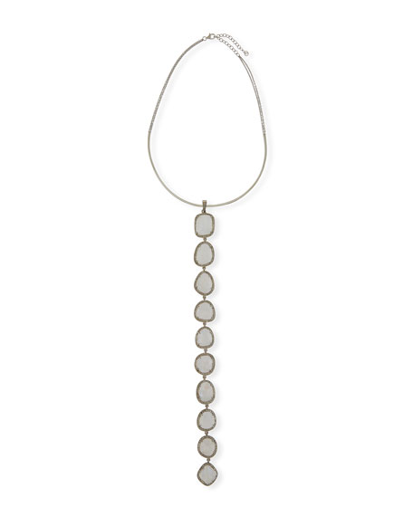 Linear Moonstone Lariat Necklace with Diamonds
