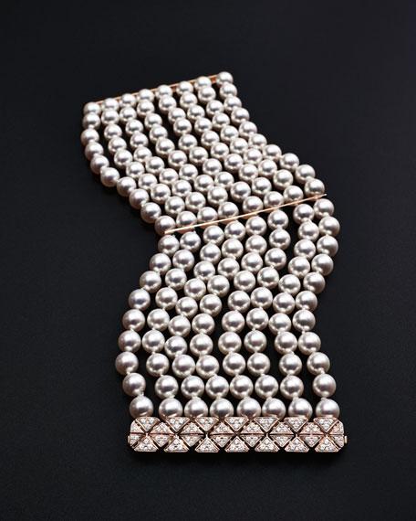 8-Row Akoya Pearl Bracelet with Diamonds in 18K Rose Gold