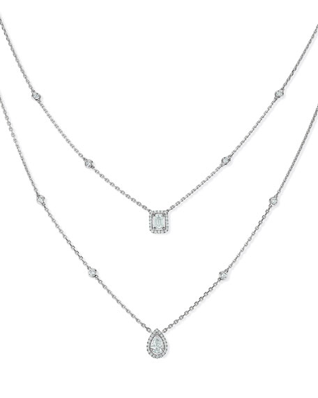 My Twin Two-Row Diamond Necklace in 18K White Gold