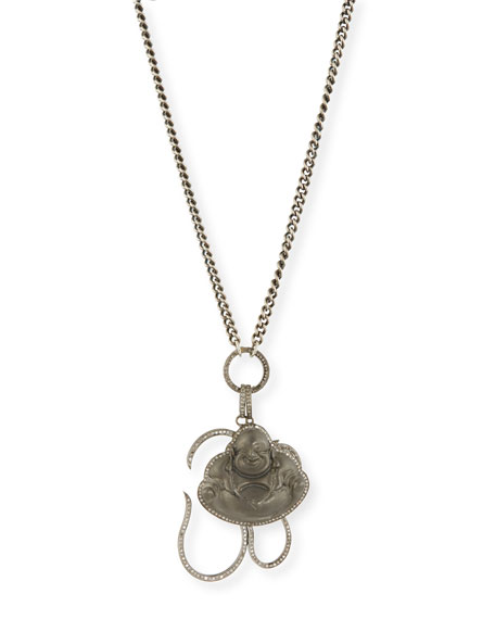 Chain Link Necklace with Diamond Buddha & Om Charms, 43""