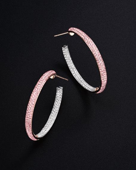 18K Rose Gold & Diamond Melee Hoop Earrings