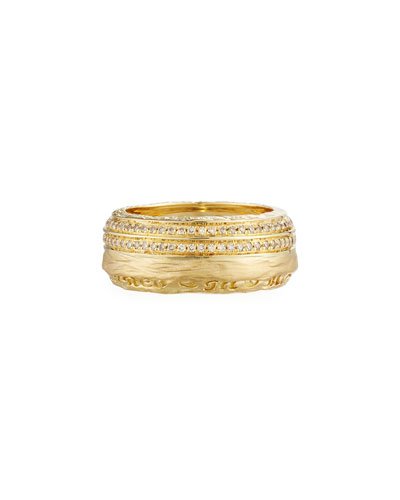 The Other Half Men's 18K Band Ring with Diamonds, Size 9