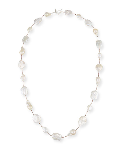 Keshi Pearl & Crystal Station Necklace, 35""