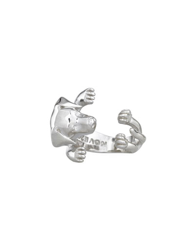 Labrador Retriever Silver Dog Hug Ring, Size 8