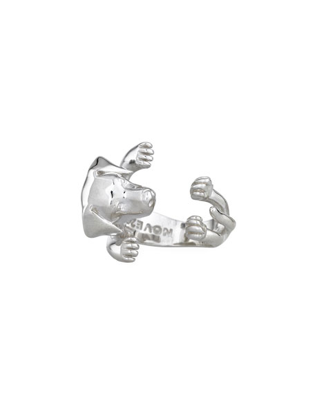 Dog Fever Golden Retriever Silver Dog Hug Ring, Size 6