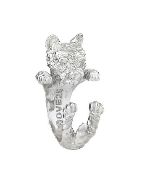 Yorkie Silver Dog Hug Ring, Size 8
