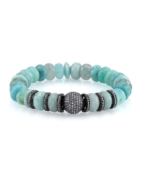 Sheryl Lowe 10mm Amazonite & Opal Beaded Bracelet with Diamonds