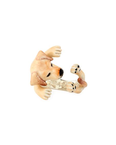 Dog Fever Golden Retriever Enameled Dog Hug Ring, Size 6