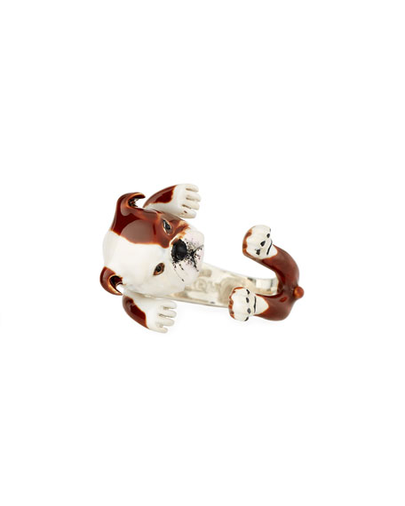 English Bulldog Enameled Dog Hug Ring, Size 7