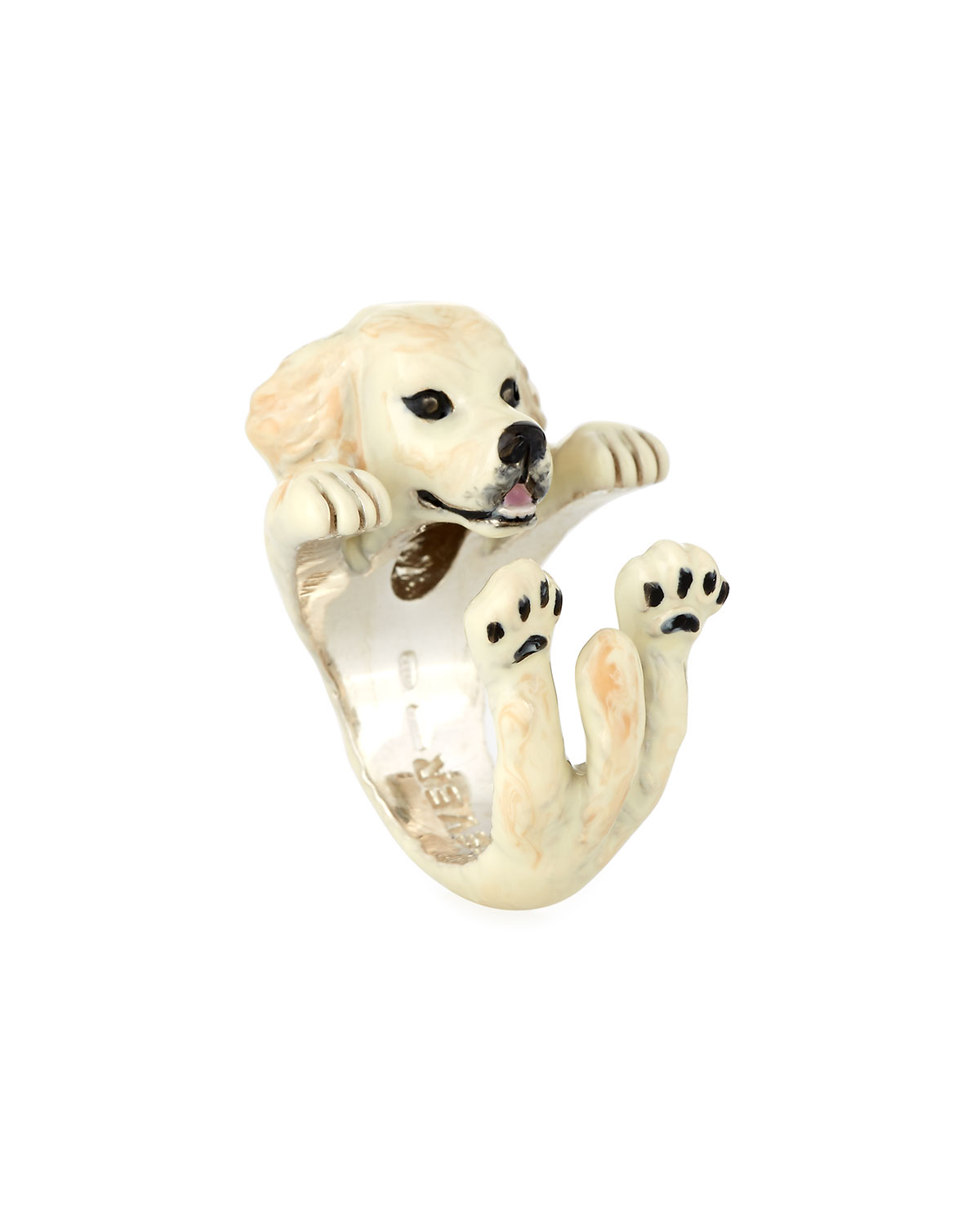 Dog Fever Golden Retriever Silver Dog Hug Ring, Size 8