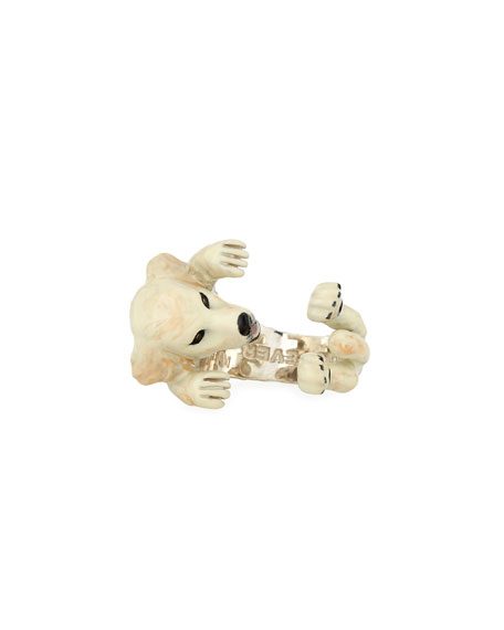 Dog Fever Golden Retriever Silver Dog Hug Ring, Size 8