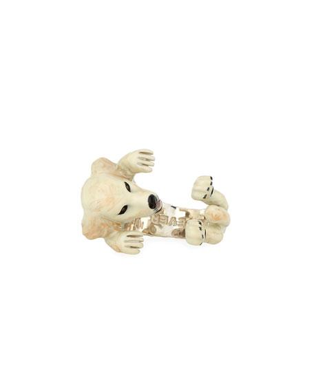 Dog Fever Golden Retriever Enameled Dog Hug Ring, Size 7