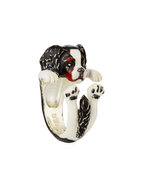 Cavalier King Charles Spaniel Enameled Dog Hug Ring, Size 6